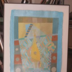 Arte: DIBUJO ABSTRACTO LAPICES CERAS ROTULADOR FIRMA P HERNANDEZ 90 83X69CMS. Lote 241307540