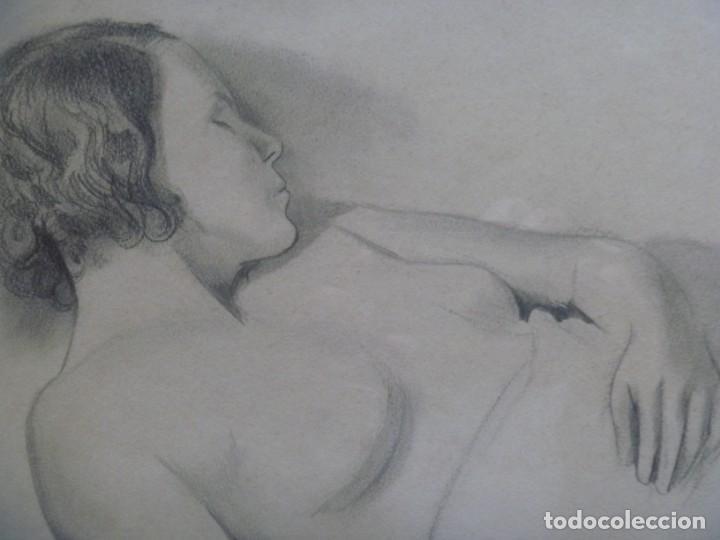 Arte: TORSO MUJER DESNUDA GRAN DIBUJO FRANCESC DOMINGO SEGURA - Foto 9 - 207793525