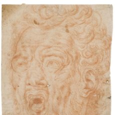 Arte: PERSONAJE GROTESCO. SIGLO XVII. 25,3 X 16,8 CM. LÁPIZ SANGUINA.. Lote 207814417
