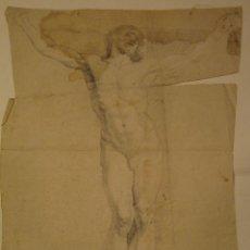 Arte: IMPORTANTE DIBUJO DE MEDIADOS SIGLO XVII. CRISTO CRUCIFICADO. 53X39CM. CIRCULO MATEO CEREZO. LAPIZ. Lote 207925248