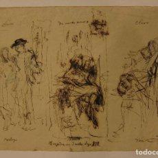 Arte: MARIANO FORTUNY. TRAGEDIA EN TRES ACTOS. HACIA 1871-1874. TINTA Y LÁPIZ 21,5 X 31 CM. CERTIFICADO. Lote 208018890