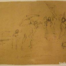 Arte: MARIANO FORTUNY. CHUBASCO EN LA PROCESIÓN. HACIA 1872-1874. TINTA. 20,2 X 31,5 CM CON CERTIFICADO. Lote 208019027
