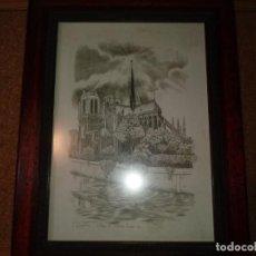 Arte: CUADRO DE DIBUJO DE PARIS DE NOTRE DAME. Lote 208057651