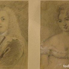 Arte: PAREJA DE RETRATOS. ESCUELA MADRILEÑA. FINAL DEL SIGLO XVIII. LÁPIZ Y CLARIÓN. 24 X 17 CM, CADA UNO. Lote 208122313