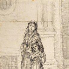 Arte: MADRE E HIJA EN LA IGLESIA. DIBUJO. GRAFITO. ATRIB. JULIÁN DEL POZO. ESPAÑA. 1884. Lote 208386447