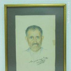 Arte: MAGNIFICO RETRATO - DIBUJO AL PASTEL DE VICENTE PARICIO - FIRMADO Y FECHADO. Lote 208392002