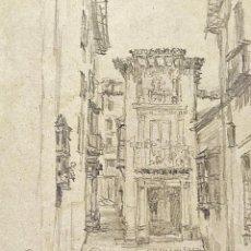 Arte: CALLEJUELA DE GRANADA. DIBUJO GRAFITO SOBRE PAPEL. ATRIB. JULIÁN DEL POZO. ESPAÑA. 1889. Lote 208853526