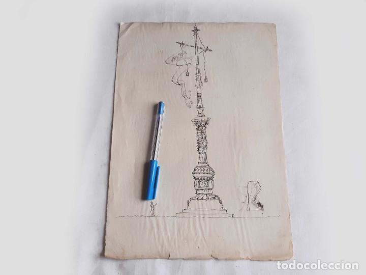 DIBUJO O BOCETO PARA UN MONUMENTO. EXPOSICIÓN BARCELONA 1888 O SIMILAR. (Arte - Dibujos - Modernos siglo XIX)