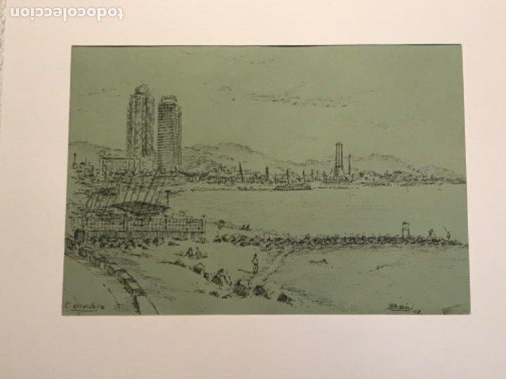 DIBUJO A TINTA VISTA DE LA ESCULLERA BARCELONA. (Arte - Dibujos - Contemporáneos siglo XX)