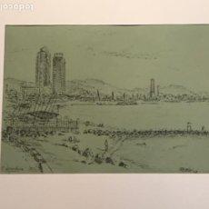 Arte: DIBUJO A TINTA VISTA DE LA ESCULLERA BARCELONA.. Lote 209060178