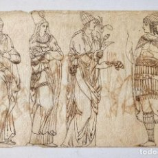 Arte: EXCELENTENTE DIBUJO ORIGINAL TINTA SOBRE PAPEL VERJURADO SIGLO XVII-XVIII, DIBUJOS EN LAS DOS CARAS. Lote 209126263