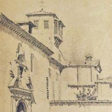 Arte: IGLESIA DE GRANADA. DIBUJO. GRAFITO. FIRMADO. JULIÁN DEL POZO. ESPAÑA. XIX-XX. Lote 209193490