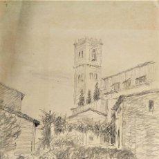Arte: IGLESIA DE GRANADA. DIBUJO. GRAFITO. ATRIB, JULIÁN DEL POZO. ESPAÑA. XIX-XX. Lote 209216992