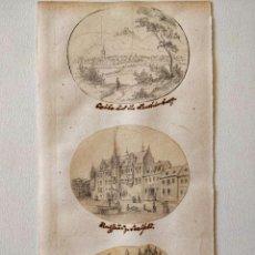 Arte: EXCELENTE LOTE DE TRES DIBUJOS ORIGINALES, PPIOS SIGLO XIX CIRCA 1810, MINIATURA, DETALLE, CALIDAD. Lote 209422510