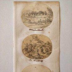 Arte: EXCELENTE LOTE DE TRES DIBUJOS ORIGINALES, PPIOS SIGLO XIX CIRCA 1810, MINIATURA, DETALLE, CALIDAD. Lote 209422632
