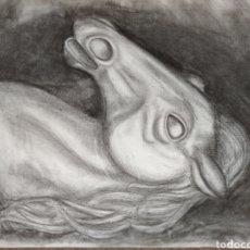 Arte: DIBUJO ACADÉMICO CABALLO CARBONCILLO, 70X 50 CM. Lote 209596765