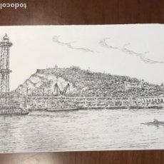 Arte: DIBUJO A TINTA PUERTO DE BARCELONA. DESCONOCEMOS AUTOR.. Lote 209605501