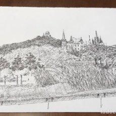 Arte: DIBUJO A TINTA VISTA DE LA MONTAÑA DEL TIBIDABO BARCELONA.. Lote 209696061