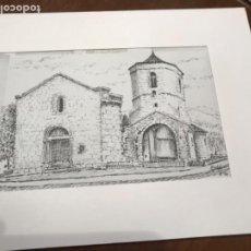 Arte: DIBUJO A TINTA DEL MONESTIR DE SANT JOAN DE LES ABADESSES.. Lote 209699600