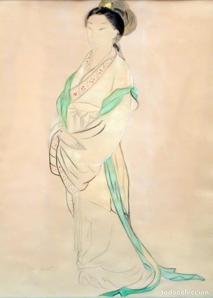 AUTORIA DESCONOCIDA DE MEDIADOS DEL SIGLO XX. TECNICA MIXTA SOBRE PAPEL. GHEISA (Arte - Dibujos - Contemporáneos siglo XX)