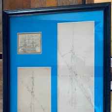 Arte: RICARDO VILLODAS DE LA TORRE .MADRID 1846 - SORIA 1904 . TRES APUNTES , A LAPIZ , DE BARCOS .. Lote 209741166