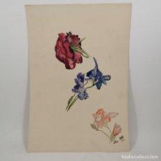 Art: ANTIGUA ACUARELA - DIBUJO - FLORES - AÑO 1919 - FIRMADO Y FECHADO. Lote 209784540