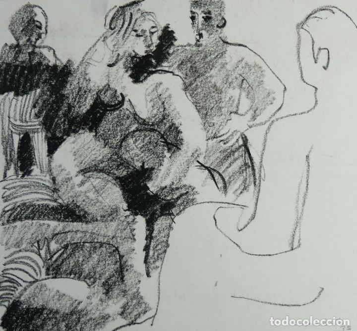 JORDI CASACUBERTA DIBUJO CERA ESCENA PERSONAJES 1975 FIRMADO (Arte - Dibujos - Contemporáneos siglo XX)