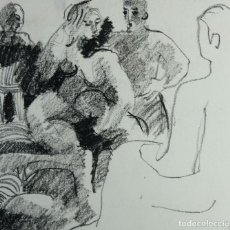 Arte: JORDI CASACUBERTA DIBUJO CERA ESCENA PERSONAJES 1975 FIRMADO. Lote 209799521