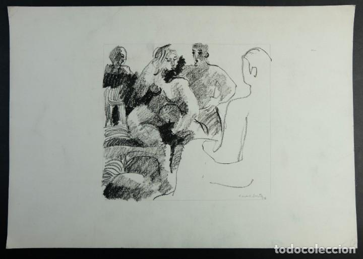 Arte: Jordi Casacuberta Dibujo cera Escena personajes 1975 Firmado - Foto 2 - 209799521