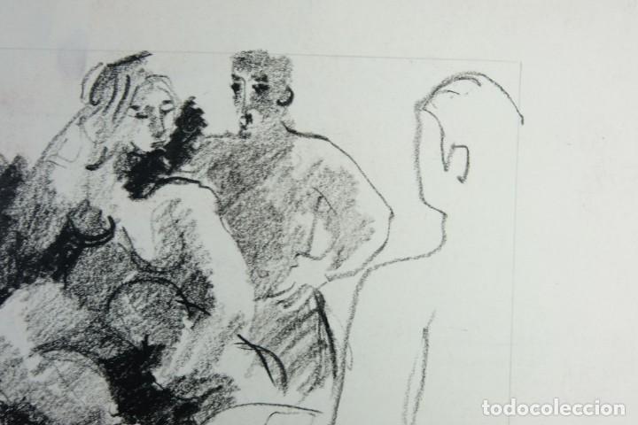 Arte: Jordi Casacuberta Dibujo cera Escena personajes 1975 Firmado - Foto 3 - 209799521