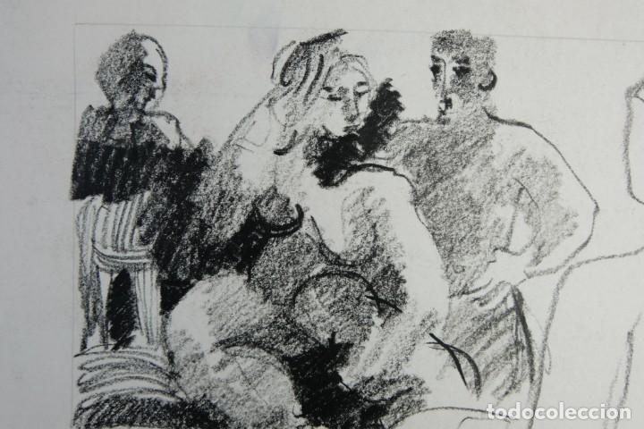 Arte: Jordi Casacuberta Dibujo cera Escena personajes 1975 Firmado - Foto 4 - 209799521