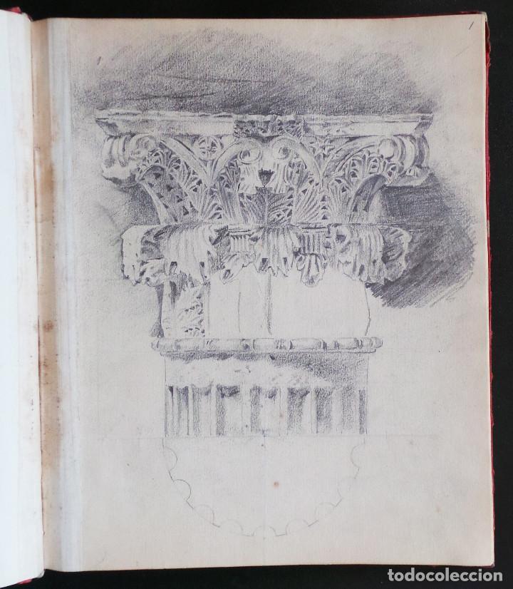 ALBUM DE DIBUJOS ARQUITECTÓNICOS POR MANUEL VILADOMAT FRENO. BARCELONA. 1890. EN TINTA Y ACUARELA (Arte - Dibujos - Modernos siglo XIX)