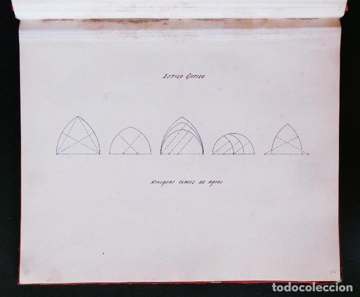 Arte: ALBUM DE DIBUJOS ARQUITECTÓNICOS POR MANUEL VILADOMAT FRENO. BARCELONA. 1890. EN TINTA Y ACUARELA - Foto 5 - 209865366