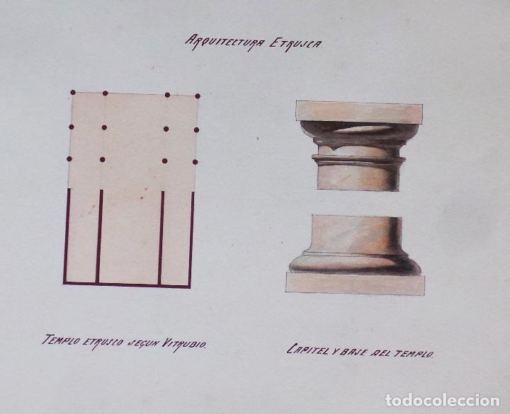 Arte: ALBUM DE DIBUJOS ARQUITECTÓNICOS POR MANUEL VILADOMAT FRENO. BARCELONA. 1890. EN TINTA Y ACUARELA - Foto 37 - 209865366