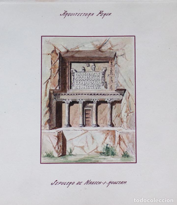 Arte: ALBUM DE DIBUJOS ARQUITECTÓNICOS POR MANUEL VILADOMAT FRENO. BARCELONA. 1890. EN TINTA Y ACUARELA - Foto 38 - 209865366