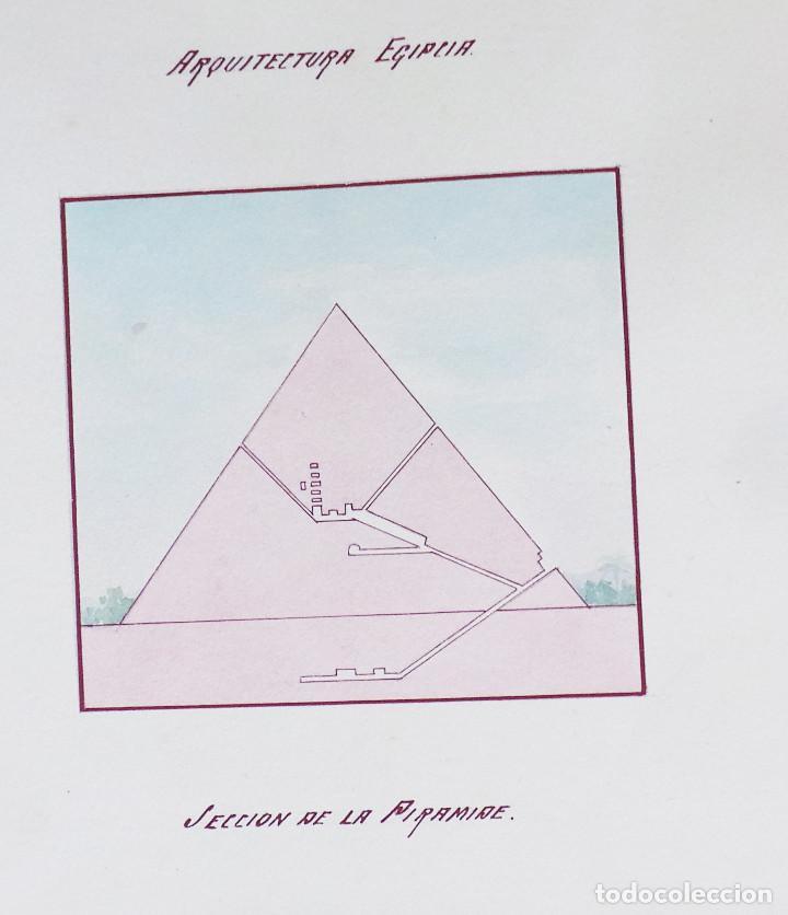Arte: ALBUM DE DIBUJOS ARQUITECTÓNICOS POR MANUEL VILADOMAT FRENO. BARCELONA. 1890. EN TINTA Y ACUARELA - Foto 47 - 209865366
