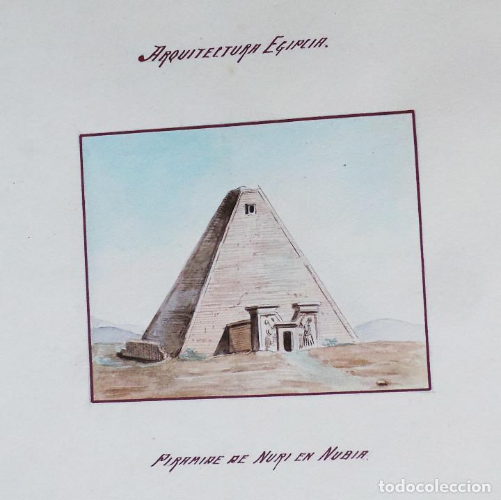 Arte: ALBUM DE DIBUJOS ARQUITECTÓNICOS POR MANUEL VILADOMAT FRENO. BARCELONA. 1890. EN TINTA Y ACUARELA - Foto 48 - 209865366