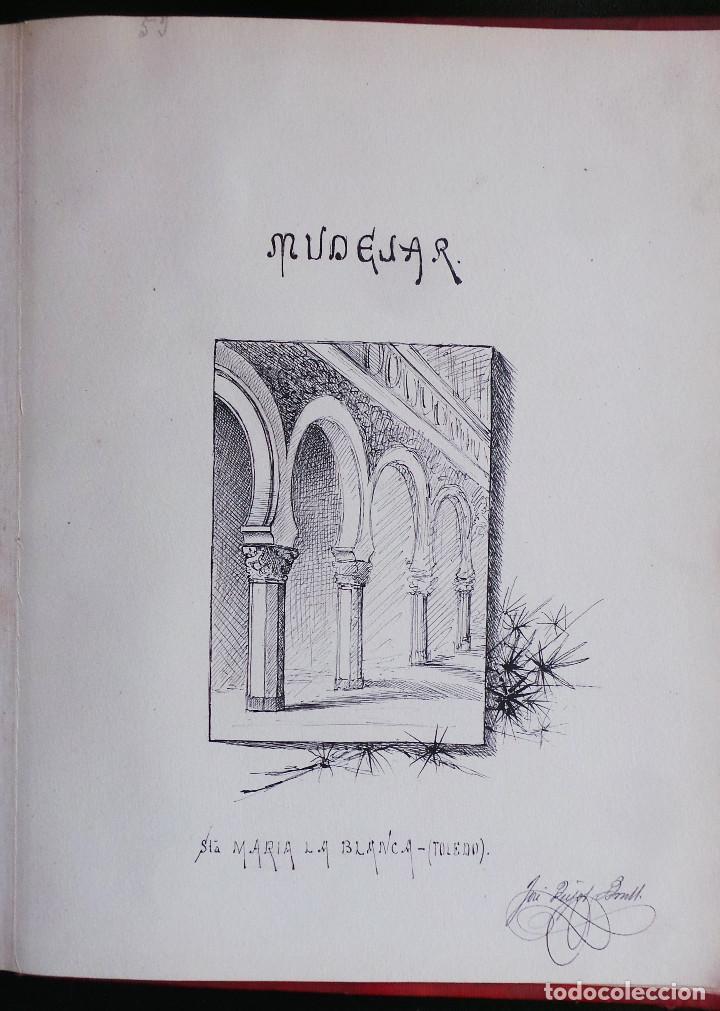 Arte: ALBUM DE DIBUJOS ARQUITECTÓNICOS POR MANUEL VILADOMAT FRENO. BARCELONA. 1890. EN TINTA Y ACUARELA - Foto 56 - 209865366