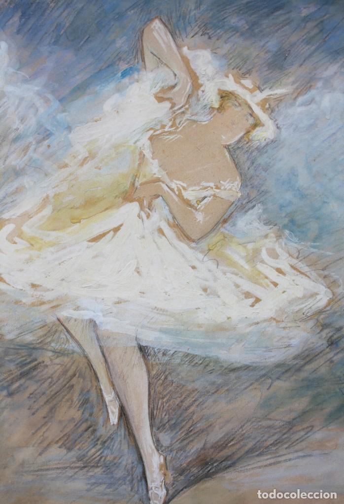 Arte: Pere Ysern Alié (1876 - 1946), bailarina, dibujo técnica mixta, firmado con marco. 28x22,5cm - Foto 2 - 209913711
