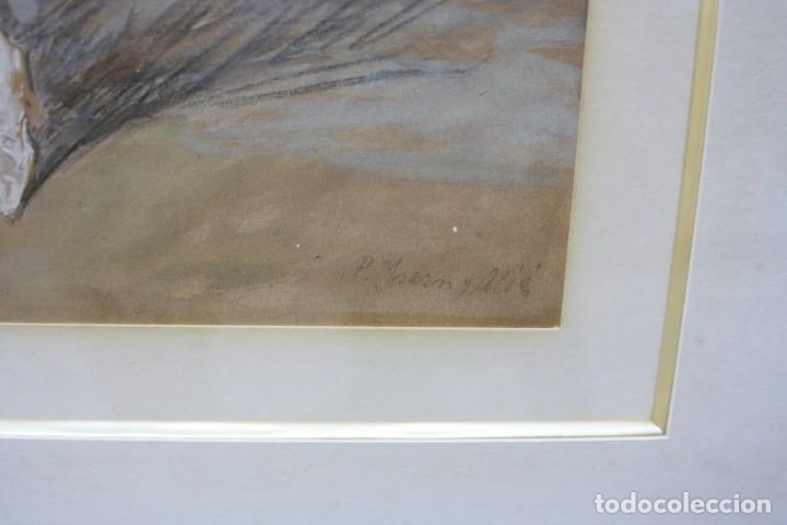 Arte: Pere Ysern Alié (1876 - 1946), bailarina, dibujo técnica mixta, firmado con marco. 28x22,5cm - Foto 3 - 209913711