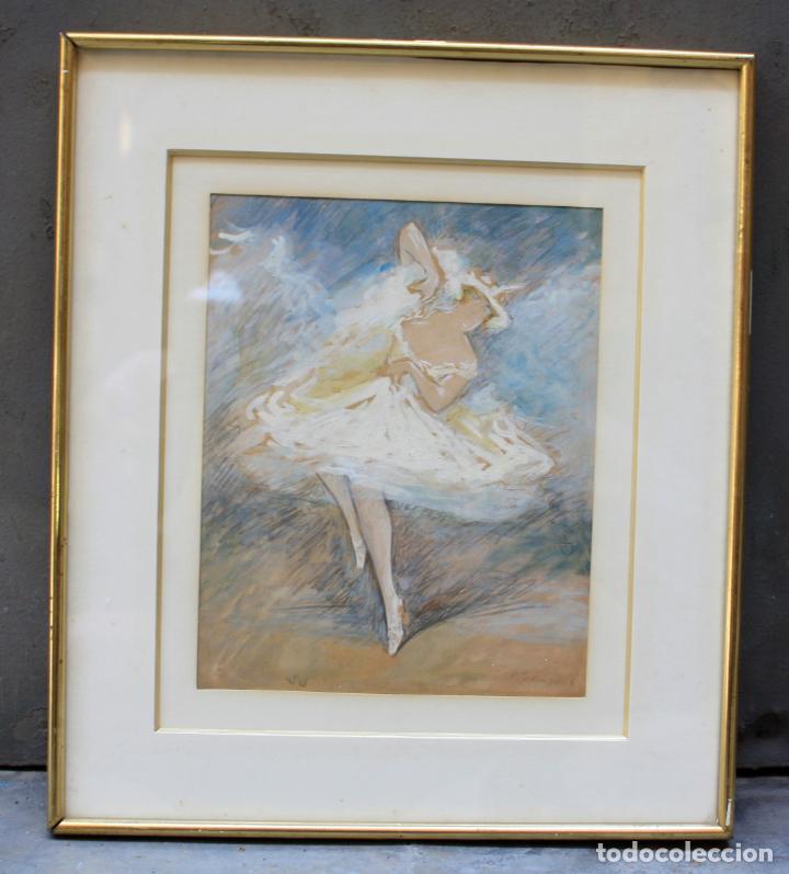 PERE YSERN ALIÉ (1876 - 1946), BAILARINA, DIBUJO TÉCNICA MIXTA, FIRMADO CON MARCO. 28X22,5CM (Arte - Dibujos - Contemporáneos siglo XX)