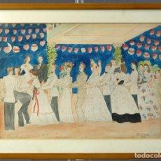 Arte: DIBUJO VERBENA DE SAN PEDRO FIRMADO MªTERESA OLIVER RIBALTA 1946. Lote 209971020