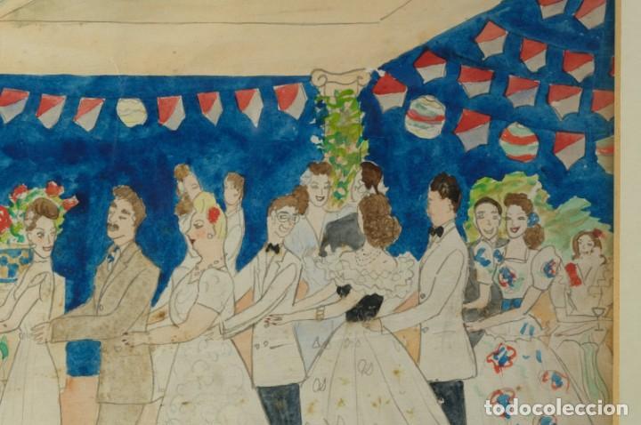 Arte: Dibujo Verbena de San Pedro firmado MªTeresa Oliver Ribalta 1946 - Foto 2 - 209971020