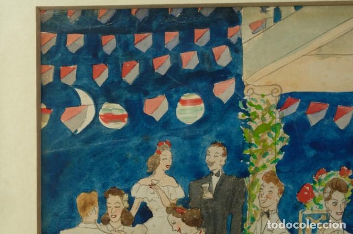 Arte: Dibujo Verbena de San Pedro firmado MªTeresa Oliver Ribalta 1946 - Foto 3 - 209971020
