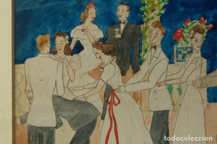 Arte: Dibujo Verbena de San Pedro firmado MªTeresa Oliver Ribalta 1946 - Foto 4 - 209971020