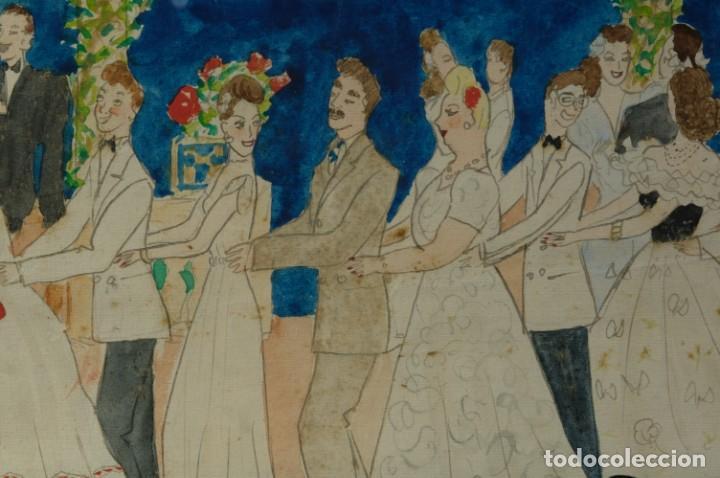 Arte: Dibujo Verbena de San Pedro firmado MªTeresa Oliver Ribalta 1946 - Foto 5 - 209971020