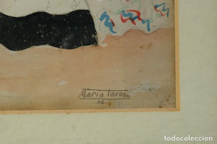 Arte: Dibujo Verbena de San Pedro firmado MªTeresa Oliver Ribalta 1946 - Foto 6 - 209971020