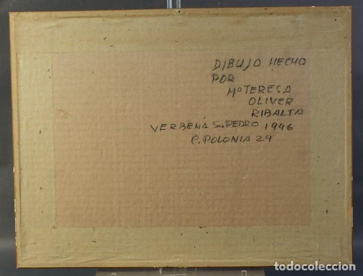 Arte: Dibujo Verbena de San Pedro firmado MªTeresa Oliver Ribalta 1946 - Foto 7 - 209971020