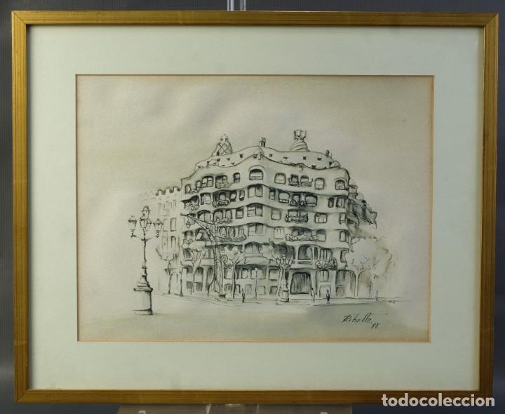 DIBUJO TINTA Y ACUARELA SOBRE PAPEL LA PEDRERA FIRMADO RIBALTA 1988 (Arte - Dibujos - Contemporáneos siglo XX)