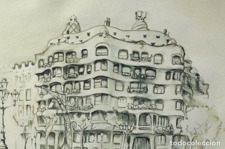 Arte: Dibujo tinta y acuarela sobre papel La Pedrera firmado Ribalta 1988 - Foto 2 - 209971022